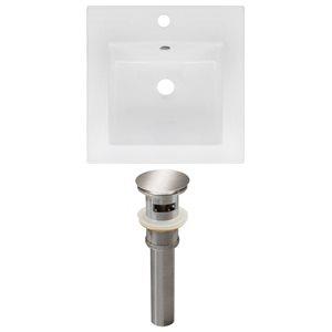 American Imaginations 16.5 x 16.5-in White Ceramic Single Hole Vanity Top Set Brushed Nickel Sink Drain