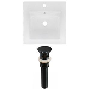 American Imaginations 16.5 x 16.5-in White Ceramic Single Hole Vanity Top Set Black Sink Drain
