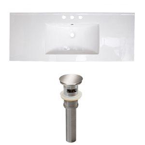 American Imaginations 39.75 x 18.25-in White Ceramic Widespread Vanity Top Set Brushed Nickel Sink Drain