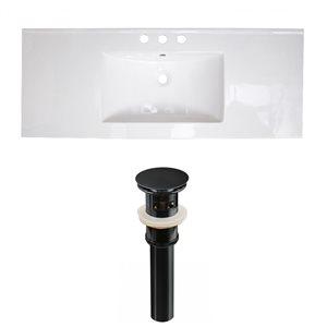 American Imaginations 39.75 x 18.25-in White Ceramic Widespread Vanity Top Set Black Sink Drain