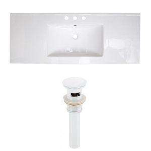 American Imaginations 39.75 x 18.25-in White Ceramic Widespread Vanity Top Set White Sink Drain