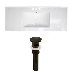 American Imaginations 39.75-in x 18.25-in White Ceramic Top Set with Oil Rubbed Bronze Drain