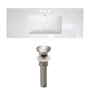 American Imaginations 39.75-in x 18.25-in White Ceramic Top Set with Brushed Nickel Drain