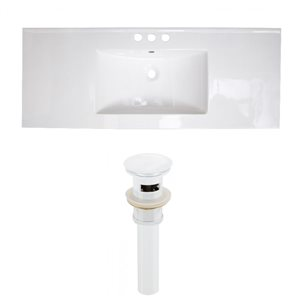 American Imaginations 39.75-in x 18.25-in White Ceramic Top Set with White Drain