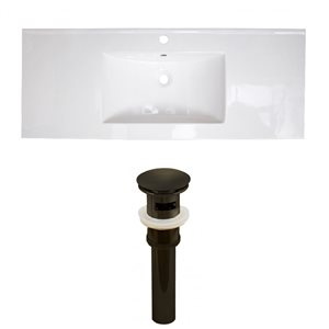 American Imaginations 39.75 x 18.25-in White Ceramic Single Hole Vanity Top Set Oil Rubbed Bronze Sink Drain