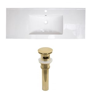 American Imaginations 39.75 x 18.25-in White Ceramic Single Hole Vanity Top Set Gold Sink Drain