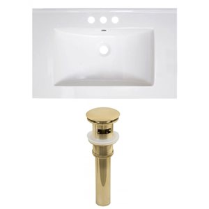 American Imaginations Vee 30-in x 18.5-in White 4-in Centreset Ceramic Top Set With Gold Sink Drain