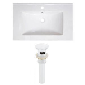 American Imaginations Vee 30-in x 18.5-in White Singlehole Ceramic Top Set With White Sink Drain