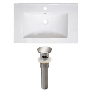 American Imaginations Vee 30-in x 18.5-in White Singlehole Ceramic Top Set With Brushed Nickel Sink Drain