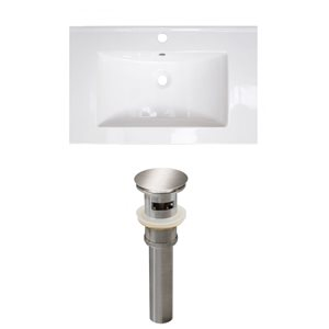 American Imaginations Vee 21-in x 18.5-in White Singlehole Ceramic Top Set With Brushed Nickel Sink Drain