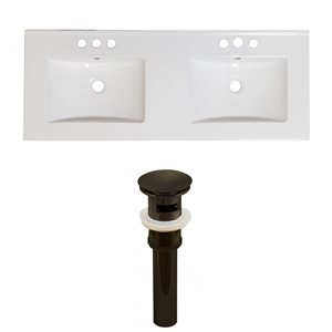 American Imaginations Xena 59-in x 18-in White Ceramic Widespread Vanity Top Set with Oil Rubbed Bronze Sink Drains