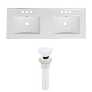 American Imaginations 59-in x 18-in White Ceramic Xena 4-in Centreset Vanity Top Set with White Sink Drains