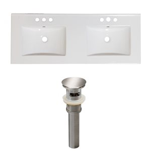 American Imaginations 59-in x 18-in White Ceramic Xena 4-in Centreset Vanity Top Set with Brushed nickel Sink Drains