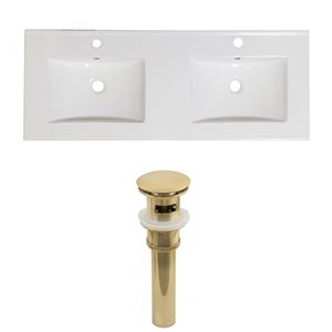 American Imaginations Xena 59-in x 18-in White Ceramic Single Hole Vanity Top Set with Gold Sink Drains