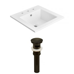 American Imaginations 21-in x 18-in Widespread White Ceramic Vanity Top Set With Oil Rubbed Bronze Sink Drain