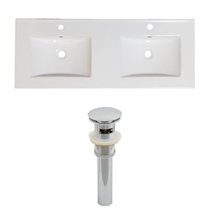 American Imaginations Xena 59-in x 18-in White Ceramic Single Hole Vanity Top Set with Chrome Sink Drains