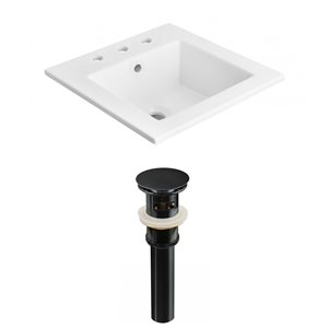 American Imaginations 21-in x 18-in Widespread White Ceramic Vanity Top Set With Black Sink Drain