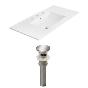 American Imaginations Xena 35.5 x 18.25-in White Ceramic Widespread Vanity Top Set Brushed Nickel Sink Drain