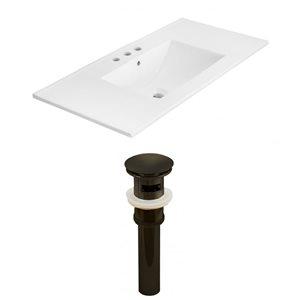American Imaginations Xena 35 x 18.25-in White Ceramic 4-in Centerset Vanity Top Set Oil Rubbed Bronze Sink Drain