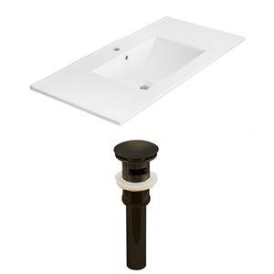 American Imaginations Xena 35 x 18.25-in White Ceramic Single Hole Vanity Top Set Oil Rubbed Bronze Sink Drain