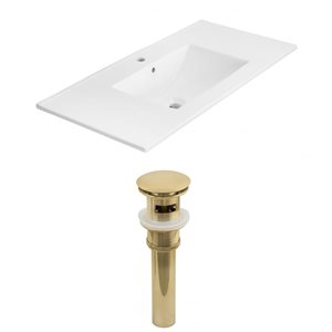 American Imaginations Xena 35 x 18.25-in White Ceramic Single Hole Vanity Top Set Gold Sink Drain