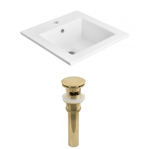 American Imaginations 21-in x 18-in Single Hole White Ceramic Vanity Top Set With Gold Sink Drain