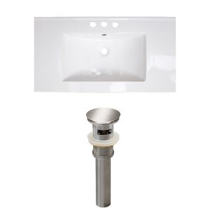 American Imaginations Flair 32-in x 18.25-in White Widespread Ceramic Top Set With Brushed Nickel Sink Drain