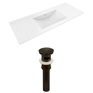 American Imaginations 48 x 18.5-in White Ceramic Whidespread Vanity Top Set Oil Rubbed Bronze Sink Drain