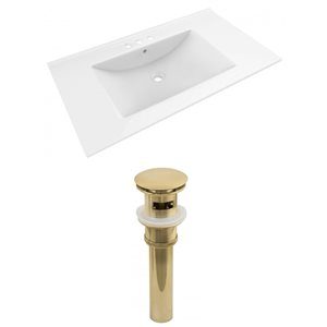 American Imaginations Drake 35.5 x 19.75-in White Ceramic Vanity Top Set with Gold Sink Drain
