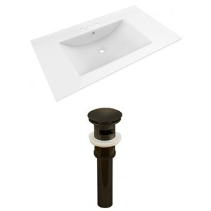 American Imaginations Drake 35.5 x 19.75-in White Ceramic Vanity Top Set with Oil Rubbed Bronze Sink Drain