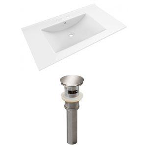 American Imaginations Drake 35.5 x 19.75-in White Ceramic Vanity Top Set with Brushed Nickel Sink Drain