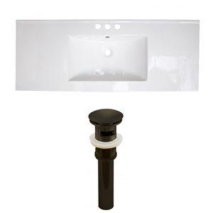 American Imaginations Roxy 48 x 18.5-in White Ceramic 4-in Centerset Vanity Top Set Oil Rubbed Bronze Sink Drain