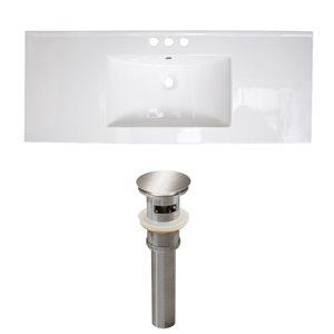 American Imaginations Roxy 48 x 18.5-in White Ceramic 4-in Centerset Vanity Top Set Brushed NIckel Sink Drain