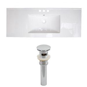 American Imaginations Roxy 48 x 18.5-in White Ceramic 4-in Centerset Vanity Top Set Chrome Sink Drain
