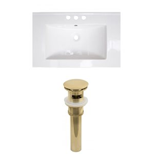 American Imaginations Roxy 24.25-in x 18.25-in White Ceramic Top Set with Gold Sink Drain