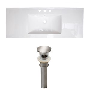 American Imaginations Roxy Widespread 48- in x 18.5- in White Ceramic Top Set With Brushed Nickel Drain