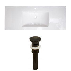 American Imaginations Roxy 48 x 18.5-in White Ceramic Single Hole Vanity Top Set Oil Rubbed Bronze Sink Drain