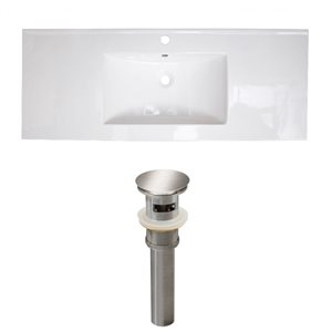 American Imaginations Roxy 48 x 18.5-in White Ceramic Single Hole Vanity Top Set Brushed Nickel Sink Drain