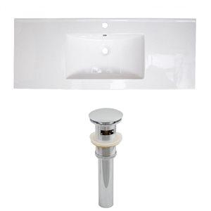 American Imaginations Roxy 48 x 18.5-in White Ceramic Single Hole Vanity Top Set Chrome Sink Drain