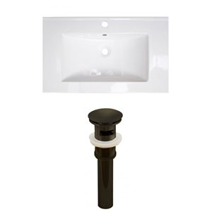 American Imaginations Roxy 32 x 18.25-in White Ceramic Single Hole Vanity Top Set Oil Rubbed Bronze Sink Drain