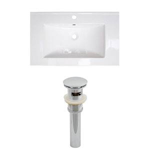 American Imaginations Roxy 32 x 18.25-in White Ceramic Single Hole Vanity Top Set Brushed Nickel Sink Drain