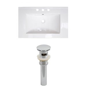 American Imaginations Roxy 24.25-in x 18.25-in White Ceramic Top Set with Chrome Sink Drain