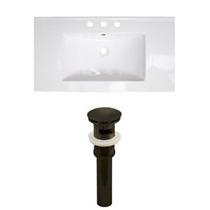 American Imaginations Flair 32-in x 18.25-in White Widespread Ceramic Top Set With Oil Rubbed Bronze Sink Drain