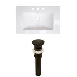 American Imaginations Flair 23.75-in x 18.25-in White Ceramic Vanity Top Set Widespread Oil Rubbed Bronze  Bathroom Sink Drain