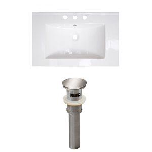 American Imaginations Flair 23.75-in x 18.25-in White Ceramic Vanity Top Set Widespread Brushed Nickel Bathroom Sink Drain