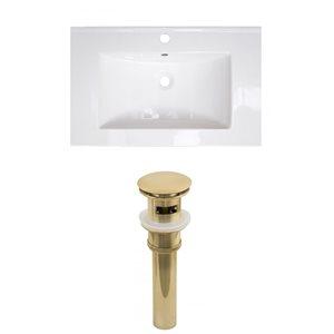 American Imaginations Flair 23.75-in x 18.25-in White Ceramic Vanity Top Set Single Hole Gold Bathroom Sink Drain