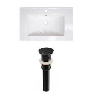 American Imaginations Flair 23.75-in x 18.25-in White Ceramic Vanity Top Set Single Hole Black Bathroom Sink Drain