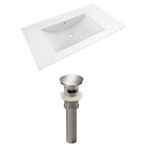 American Imaginations Drake 35.5-in x 19.75-in White Ceramic Vanity Top Set Widespread Brushed Nickel Bathroom Sink Drain