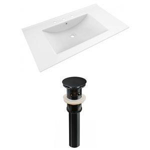 American Imaginations Drake 35.5-in x 19.75-in White Ceramic Vanity Top Set Widespread Black Bathroom Sink Drain