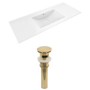 American Imaginations 48 x 18.5-in White Ceramic Alum Single Hole Vanity Top Set Gold Sink Drain